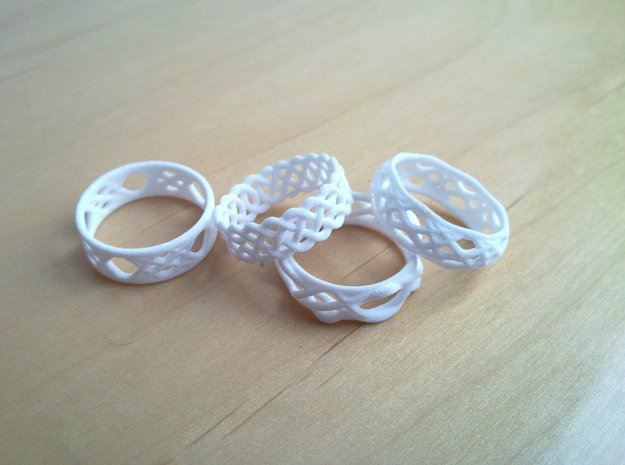 Sine Ring Flat 3d printed Various rings. Note only one ring is included here.