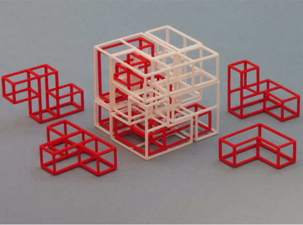 """SOMA's Revenge"" - Outer Parts Only 3d printed Cube Example 1 with 3 Interlocked Inner parts"