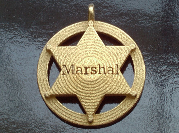 Sheriffs Star (6-point) Pet Tag / Pendant /Key Fob 3d printed Shown with optional gold plating