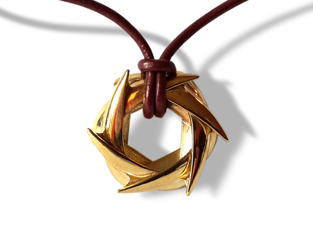 COROLLA (r)Evolution pendant (cm 3 x 3 x 0.9) 3d printed Gold Plated Brass