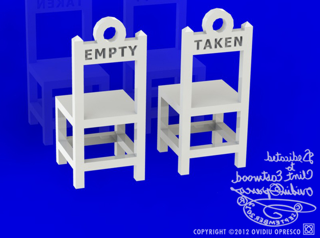 """Empty Chair"" Earrings 3d printed"