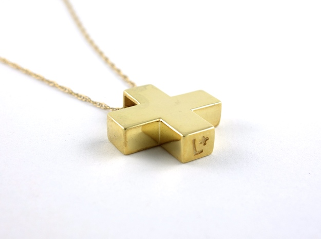 "Solid Plus Pendant 3d printed Signature ""L+"""
