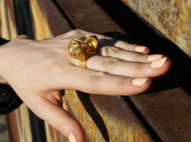 Pumpkin Ring Size 5 3d printed Gold