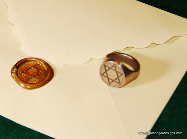Star of David Signet Ring 3d printed Star of David Signet Ring and impression