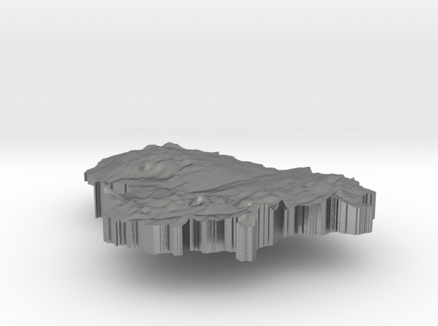 Lithuania Terrain Silver Pendant 3d printed