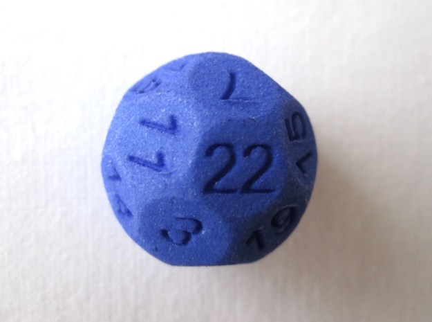 D22 Sphere Dice 3d printed Perspective view