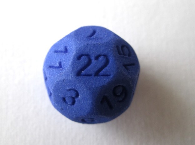 D22 Sphere Dice 3d printed In Royal Blue Strong and Flexible