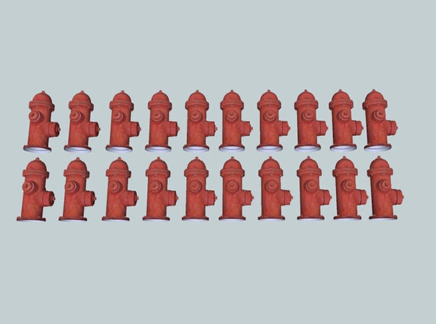20 N-scale (1:160) Fire Hydrants 3d printed