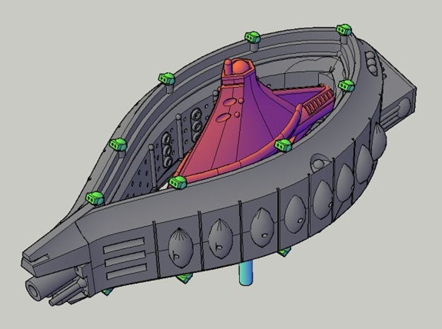 Rushi Carrier turret set 1 3d printed assembly guide - fleet carrier