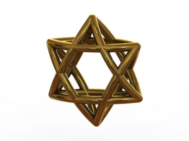 Star Of David earrings (pair) 3d printed Gold (rendered)