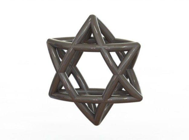 Star Of David earrings (pair) 3d printed Silver (rendered)
