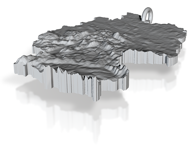 Germany Terrain Silver Pendant 3d printed