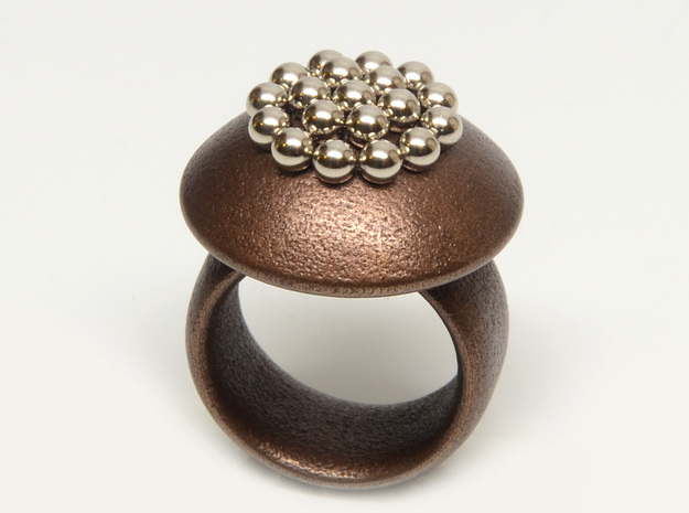 Magnetic Sculpture Ring Size 8 3d printed magnets in their dimples