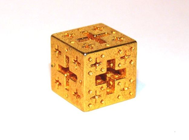 Jerusalem Cube Fractal Pendant 3d printed Polished Gold Steel