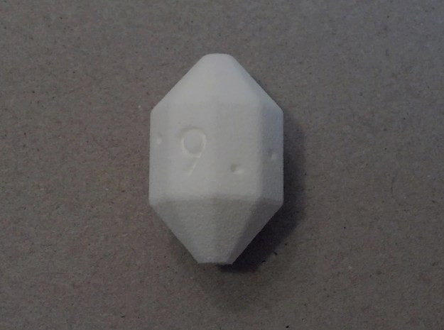 Cycle D9 Die 3d printed A roll of 9. White Strong & Flexible.