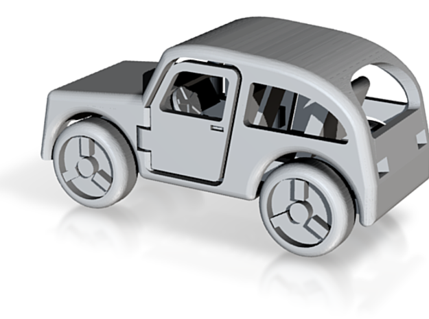 Micro car with open doors and turning wheels 3d printed
