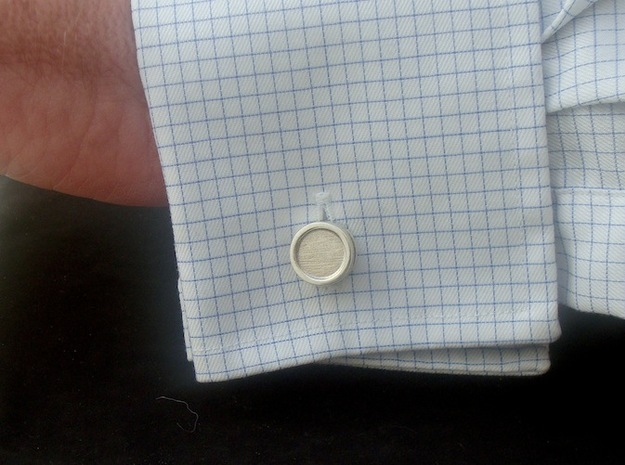 Piston Cufflinks 3d printed In use (Front)