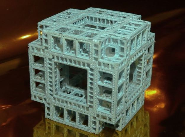 MengerKoch Fractal Cube 3d printed Frosted Detail (painted)