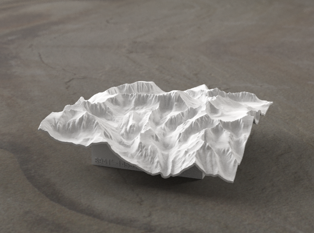 4'' Mt. Whitney Terrain Model, California, USA 3d printed Radiance rendering