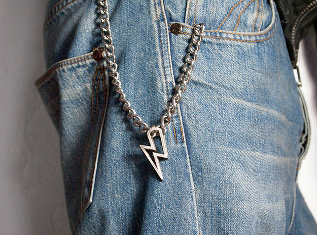 Lightning Pendant 3d printed Stainless Steel (hand-polished)