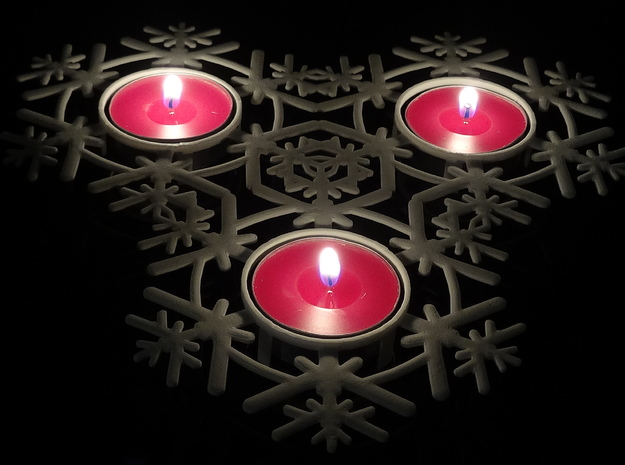 Triple Snow Flake tea light holder 3d printed