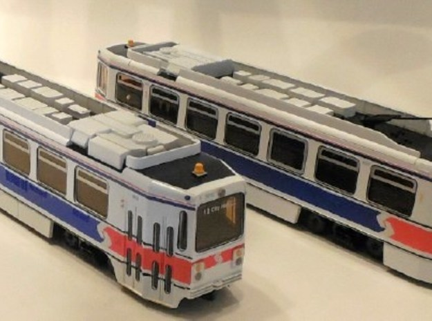 Kawasaki SE LRV Frame 3d printed IHP HO Scale SEPTA Kawasaki LRV Display Model.  Injection moulded plastic.  Available direct from IHP.