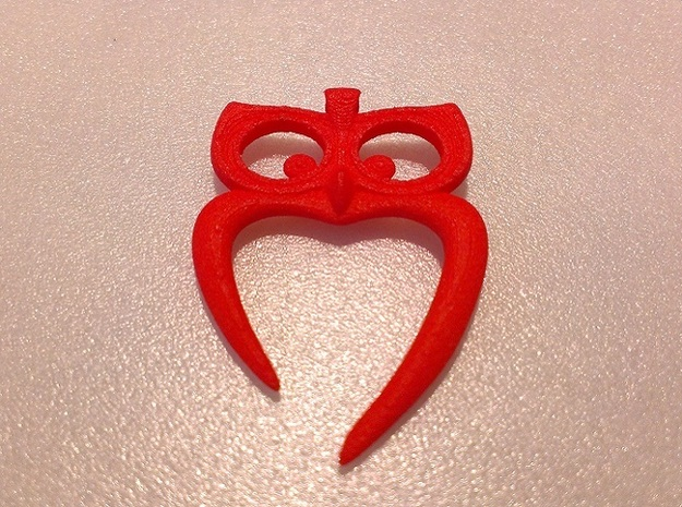 Owl Heart Pendant 3d printed Coral Red