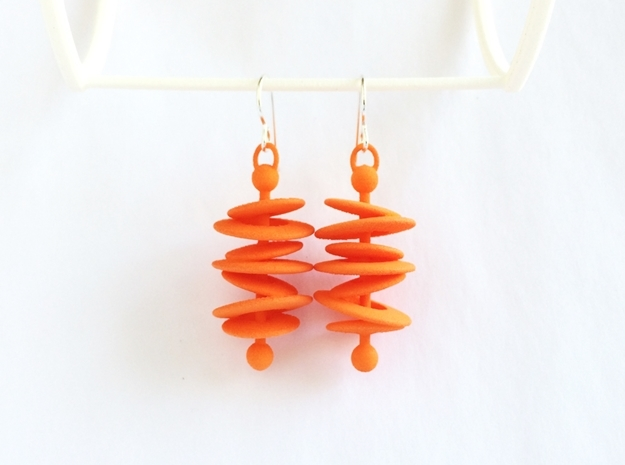 Orbital Drift Earrings 3d printed Orbital Drift Earrings in Orange