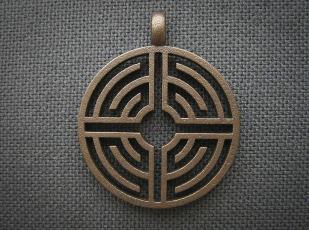 Labyrinth Pendant 3d printed Shown in Matte Bronze Steel