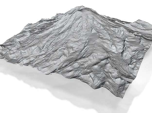 12'' Mt. Rainier Terrain Model, Washington, USA 3d printed