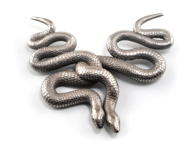 Embraced Snakes Pendant 3d printed Stainless Steel