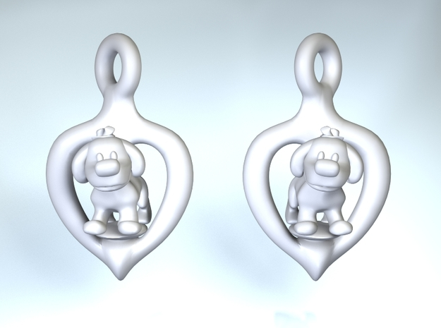 Puppy earrings 3d printed