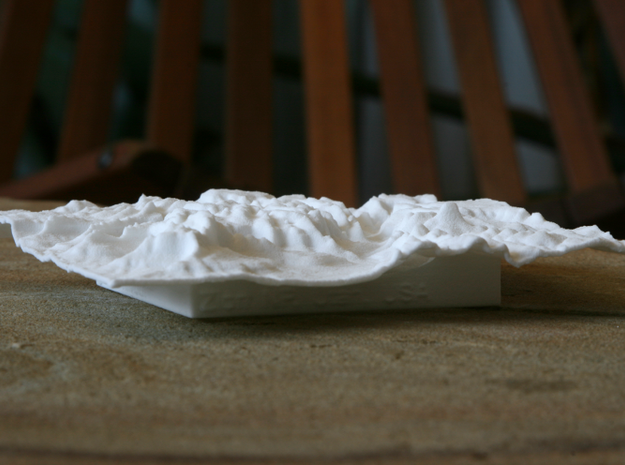 """4'' Zion National Park Terrain Model, Utah, USA 3d printed Photo of 4"""" model, looking up the main valley"""
