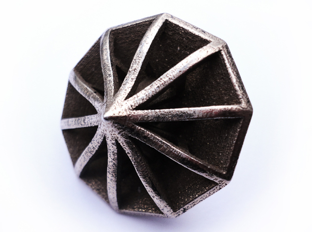 Top Die10 3d printed In stainless steel and inked.