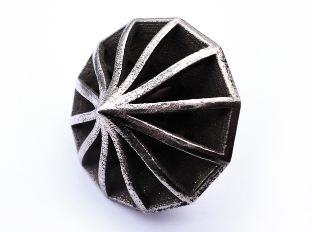Top Die12 3d printed In stainless steel and inked.