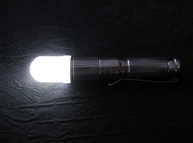 Diffuser mounted on an iTP A3 EOS titanium AAA flashlight (not included)