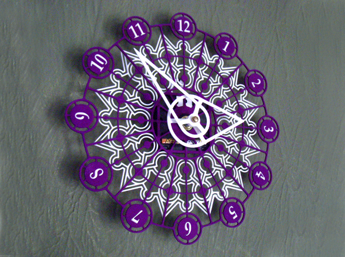 The completed Kaleidoscope Clock with Part A in Purple Strong & Flexible and Part B in White Strong & Flexible.This is a two-part clock face kit. This model is Part A. The second part is available at http://www.shapeways.com/model/580493