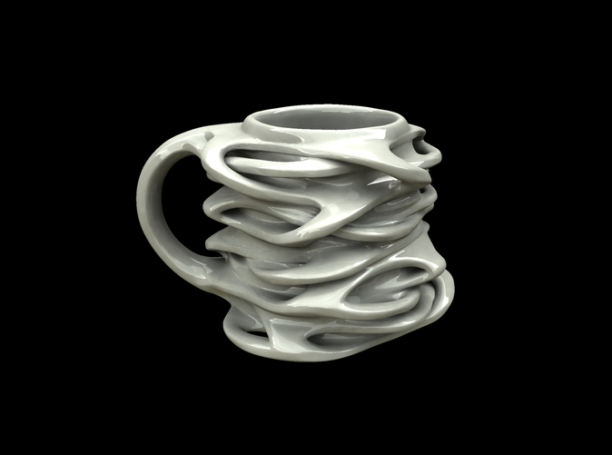 "ceramic render of ""interconnected mug"""