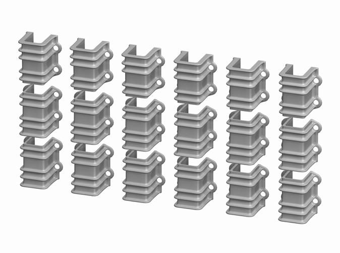 1:20.3 D&RGW 6200 series Flatcar Stake Pockets, set of 18