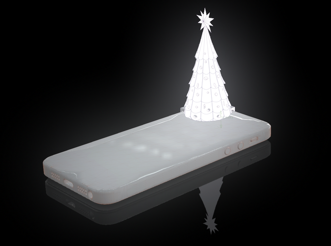 virtual rendering of the christmas tree all lit up