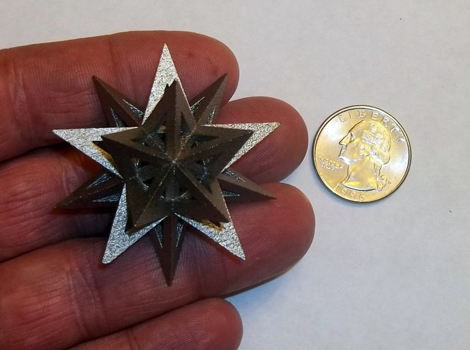 Stellated Icosahedron in polished nickel steel