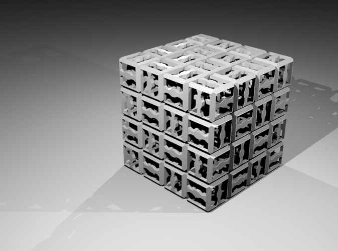 The completed puzzle, as rendered in Blender.