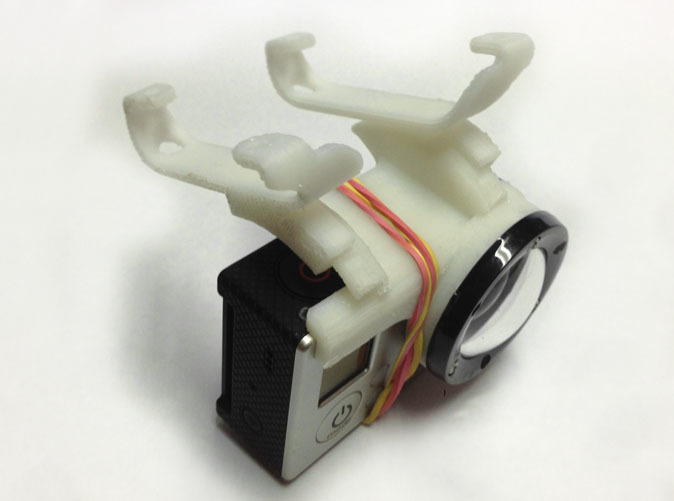 top view of prototype - notice rubberband to hold camera. PS the shapeway print is much nicer looking than the prototype