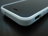 "Cariband case for iPhone 5/5s, ""holds stuff"" 3d printed White Strong & Flexible POLISHED, Front, corner bevel detail"