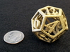 12 Sided Die 3d printed White strong painted gold