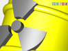 Power Grid Yellow Uranium Barrels, Set of 12 3d printed A close in render of the radioactive sign on the barrel.