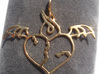 Flying broken heart - Silver / Gold pendant 3d printed Gold Plated Brass