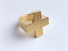 Plus Ring 3d printed Gold Plated Glossy Steel