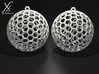 Polyhedron Cage Earring 3d printed White, cycle render.