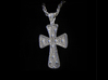 Ornate Cross Pendant - Large 3d printed Silver - No Patina - No Polish